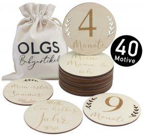 40 Holz Meilensteine inkl. Stoffbeutel für Ihr Baby | Meilensteinkarten als Geschenkidee zur Geburt, Taufe, Schwangerschaft oder Babyparty, Set aus 20 Teilen