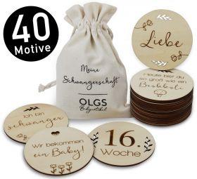 40 Holz Meilensteine inkl. Stoffbeutel, Set aus 20 Teilen