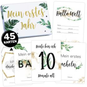 45 Baby/Schwangerschaft Meilensteinkarten Tropical Green