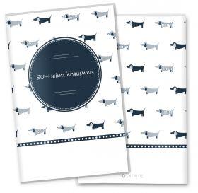 EU-Heimtierausweis Hülle / Impfpasshülle / Tierpass Taksa personalisierbare Hülle für den Hund