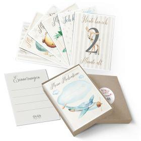 Meilensteinkarten Geschenkidee zur Geburt Baby Junge/Mädchen