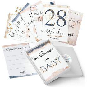 40+1 Schwangerschaft Meilensteinkarten Golden Glamour Splash Geschenkidee zur Geburt, Schwangerschaft oder Babyparty