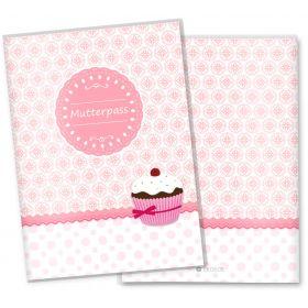 Mutterpasshülle 3-teilig Cupcakes (Motiv: Romantik, ohne Personalisierung)