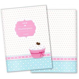 Mutterpasshülle 3-teilig Cupcakes (Motiv: Herzchen, ohne Personalisierung)
