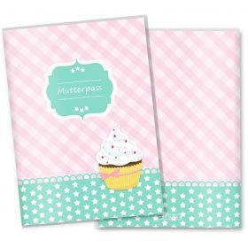 Mutterpasshülle 3-teilig Cupcakes (Motiv: Sternchen, ohne Personalisierung)