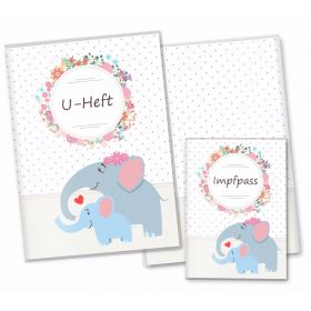 U-Heft Hülle SET Mommy Love Dots (Elefant, Ohne Personalisierung)