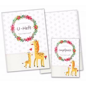 U-Heft & Impfpass Hüllen SET Mommy Love Daisy (Giraffe, Ohne Personalisierung)