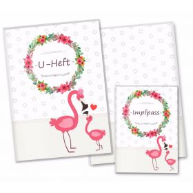 U-Heft & Impfpass Hüllen SET Mommy Love Daisy (Flamingo, Ohne Personalisierung)