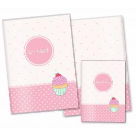 U-Heft Hülle SET rosa Herzchen (Cupcake)