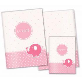 U-Heft Hülle SET rosa Herzchen (Elefant)