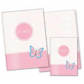 U-Heft Hülle SET rosa Herzchen (Schmetterling)