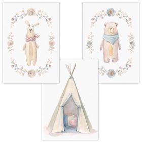3er Set Wandbilder für Baby & Kinderzimmer Deko Poster   Kunstdruck DIN A4 ohne Rahmen und Dekoration (Hase Tipi Bär)