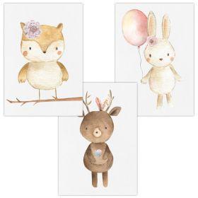 3er Set Wandbilder für Baby & Kinderzimmer Deko Poster | Kunstdruck DIN A4 ohne Rahmen und Dekoration (Eule Reh Hase)