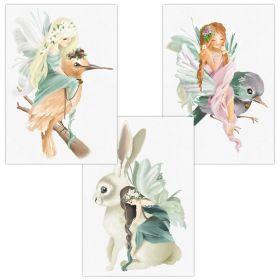 3er Set Wandbilder für Baby & Kinderzimmer Deko Poster | Kunstdruck DIN A4 ohne Rahmen und Dekoration (W03 Phantasy Vogel Hase Mädchen)