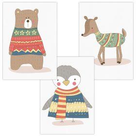 3er Set Wandbilder für Baby & Kinderzimmer Deko Poster   Kunstdruck DIN A4 ohne Rahmen und Dekoration (W04 Bär Pinguin Reh)