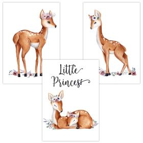 3er Set Wandbilder für Baby & Kinderzimmer Deko Poster | Kunstdruck DIN A4 ohne Rahmen und Dekoration (Little Princess Rehkitz)