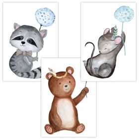 """3er Set Wandbilder für Baby & Kinderzimmer Deko Poster   Kunstdruck DIN A4 ohne Rahmen und Dekoration (Pusteblume """"Waschbär Bär Maus"""")"""
