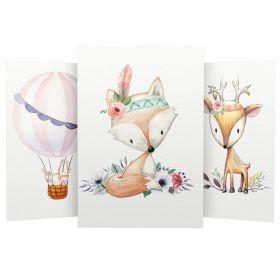 """3er Set Wandbilder für Baby & Kinderzimmer Deko Poster   Kunstdruck DIN A4 ohne Rahmen und Dekoration (Cute Boho """"Reh Heißluftballon Hirsch Blumen"""")"""