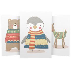 3er Set Wandbilder für Baby & Kinderzimmer Deko Poster | Kunstdruck DIN A4 ohne Rahmen und Dekoration (W04 Bär Pinguin Reh)