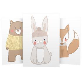3er Set Wandbilder für Baby & Kinderzimmer Deko Poster   Kunstdruck DIN A4 ohne Rahmen und Dekoration (W02 Bär Hase Fuchs)