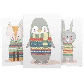 3er Set Wandbilder für Baby & Kinderzimmer Deko Poster   Kunstdruck DIN A4 ohne Rahmen und Dekoration (W05 Fuchs Pinguin Hase)