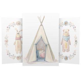 3er Set Wandbilder für Baby & Kinderzimmer Deko Poster | Kunstdruck DIN A4 ohne Rahmen und Dekoration (Hase Tipi Bär)