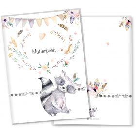 Mutterpasshülle 3-teilig Boho Freunde (Waschbär, ohne Personalisierung)