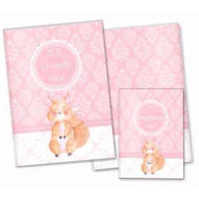 U-Heft Hülle SET rosa Little Lady (Eichhörnchen, ohne Personalisierung)