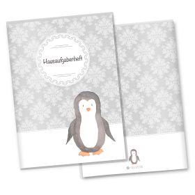 Hausaufgabenheft Hülle Black & White (Pinguin, ohne Personalisierung)