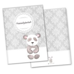 Hausaufgabenheft Hülle Black & White (Panda, ohne Personalisierung)