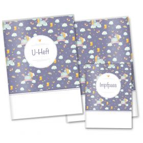 U-Heft Hülle SET Unicorn Dreams (Lilla, ohne Personalisierung)