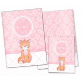 U-Heft Hülle SET rosa Little Lady (Katze, ohne Personalisierung)