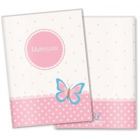 Mutterpasshülle 3-teilig rosa Herzchen (Schmetterling)
