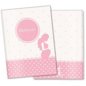 Mutterpasshülle 3-teilig rosa Herzchen (Babybauch, ohne Personalisierung)
