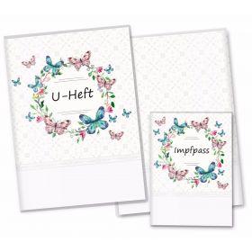 U-Heft Hülle SET Blumenkranz (Schmetterling, ohne Personalisierung)