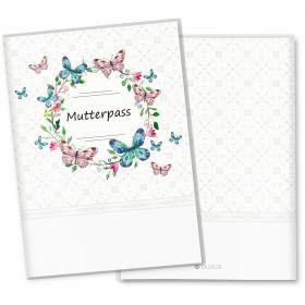 Mutterpasshülle 3-teilig Blumenkranz (Schmetterling, ohne Personalisierung)