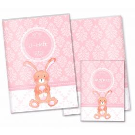 U-Heft Hülle SET rosa Little Lady (Hase, ohne Personalisierung)