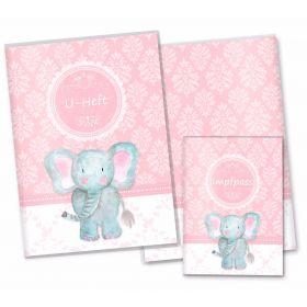 U-Heft Hülle SET rosa Little Lady (Elefant, ohne Personalisierung)