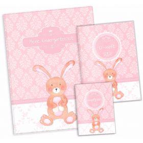 """Geschenkset rosa Little Lady Hase U-Heft Hülle Impfpasshülle Sammelmappe """"Meine Kindergartenzeit"""" Geschenkidee (10 Hüllen/20 Seiten A4)"""