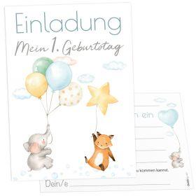 12 Einladungskarten Ballon Party