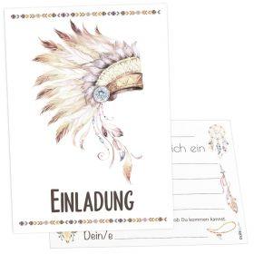 12x Indianer Einladungskarten
