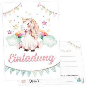 12x Prinzessin Einhorn Einladungskarten