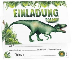 12 Einladungskarten Dinosaurier