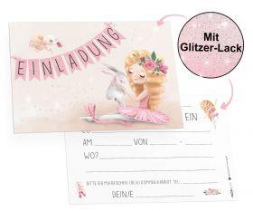 12x Einladungskarten mit Glitzer-Lack