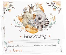 12 Tiere Freunde Einladungskarten
