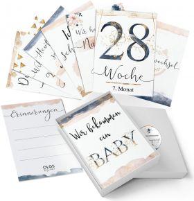 40+1 Baby/Schwangerschaft Meilensteinkarten Golden Glamour Splash