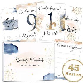 45 Baby/Schwangerschaft Meilensteinkarten Golden Glamour Splash