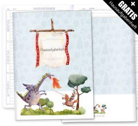 Hausaufgabenheft Hülle Ritter und Drachen inkl. Heft