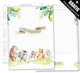 Hausaufgabenheft Hülle Tierfreunde + Heft
