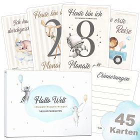 45 Baby Meilensteinkarten zur Geburt Junge/Mädchen